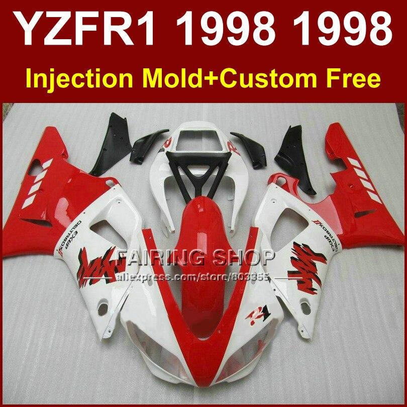 Good red white fairings kit for YAMAHA YZF R1 YZF1000 98 99 R1 custom fairing set YZF R1 1998 1999 body parts oG7V запчасти для мотоциклов yamaha yzf1000 r1 98 99