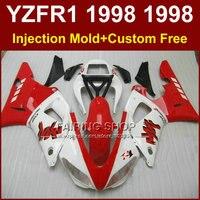 Good red white fairings kit for YAMAHA YZF R1 YZF1000 98 99 R1 custom fairing set YZF R1 1998 1999 body parts oG7V
