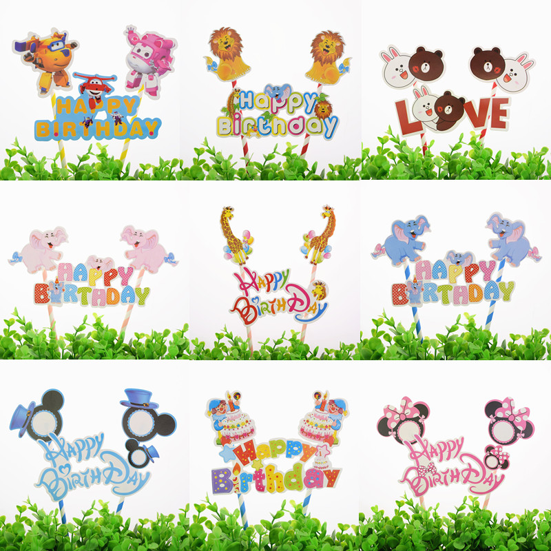 1pc Giraffe Elephant Lion Zoo Happy Birthday Cake Flag Crown Airplane Baby Shower Cake Topper Birthday Party Cake Baking Decor