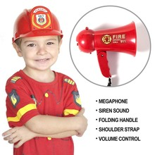 Portable Megaphone Pretend Play Kids Fire Fighters (Bullhorn) with Siren Sound. Handheld Mic Toy