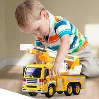 1:16 Pull Back Car Truck Model Toy Engineering Vehicle Lights Chinese Story Music Inertia Driving 2019 Toy for Children Kids Boy