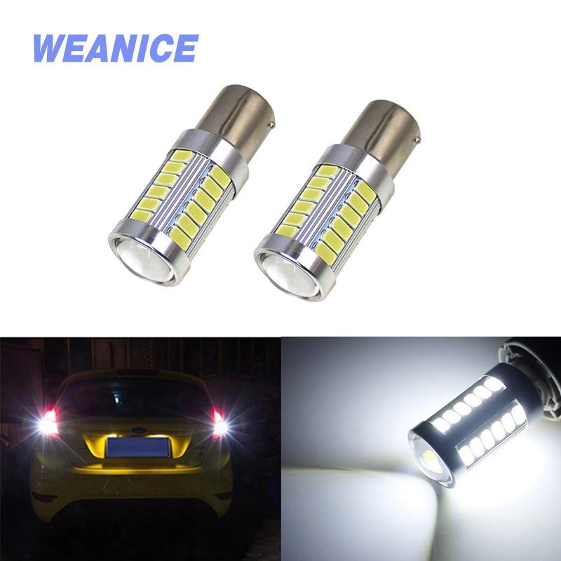WEANICE 2PCS Car 12V 1156 LED Bulbs 1157 5630 33 SMD 6500K Additional Brake Lights Ba15s Bay15d Auto Reverse Lamp High Power
