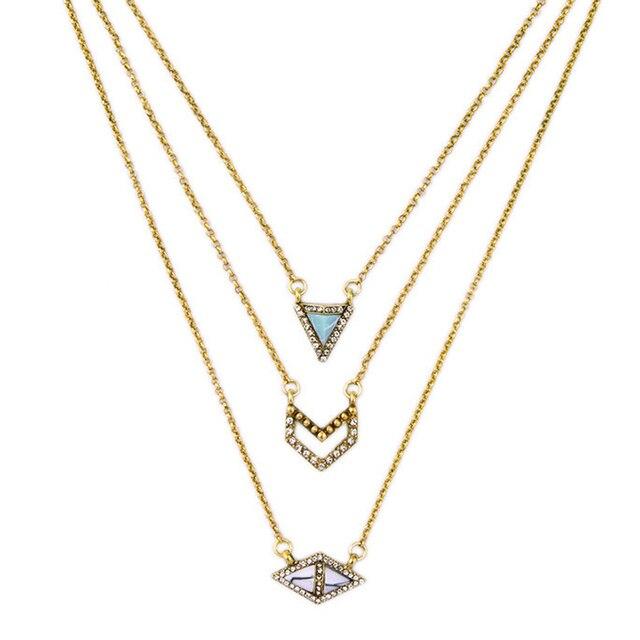 e126b8020483 Diseño Rombo Triángulo Colgante Collar de La Personalidad Salvaje de  múltiples capas Collar de Cadena Del