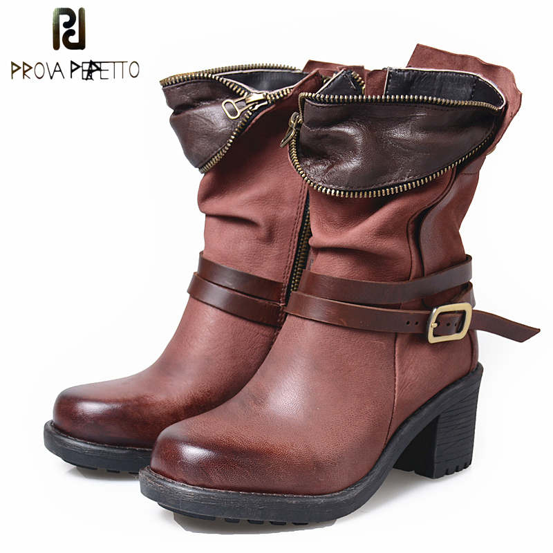 Prova Perfetto 2018 Winter New Women Short Boots Chunky High Heel Martin Shoes Belt Buckle Round Toe Feminino Motorcyle Boots prova perfetto autumn winter new genuine leather low heel women mid calf boots round toe thick bottom comfortable martin boots