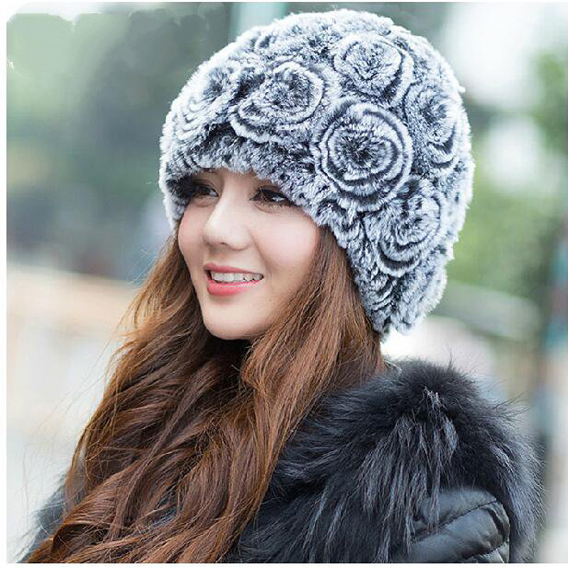 Knitting Pattern Russian Hat : Aliexpress.com : Buy 2015 Rex real Russian fur hat knit wool cap natural rabb...