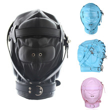 2017 New Fetish PU Leather Bondage Hood SM Totally Enclosed Mask With Lock BDSM Slave Restraints Adult Games Sex Toy For Couples