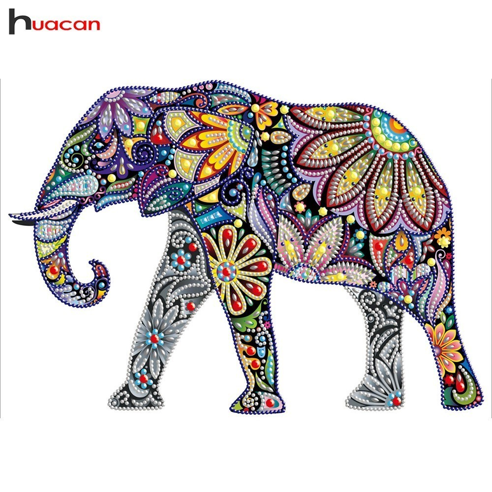Huacan Animal Diamant Mosaïque Spécial En Forme de Diamant Peinture Point De Croix Éléphant 5D Bricolage Peinture Décoration De La Maison
