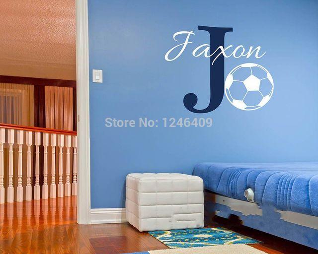 Personalizado Nombre del cuarto fútbol Wall sticker niños habitación ...