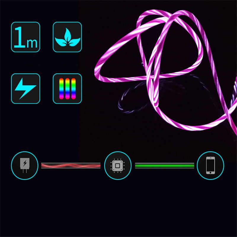 LED Glow Fließende Daten USB Handy-ladegerät Typ C/Micro USB/8 Pin Lade Kabel für iPhone X samsung Galaxy S9 S8 Ladung Draht Kabel