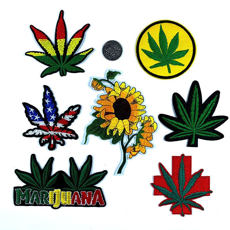 Embroidered Iron On Patch US American Flag Marijuana Leaf Hemp Pot Weed Pot leaf boho hippie retro weed applique patches badge image