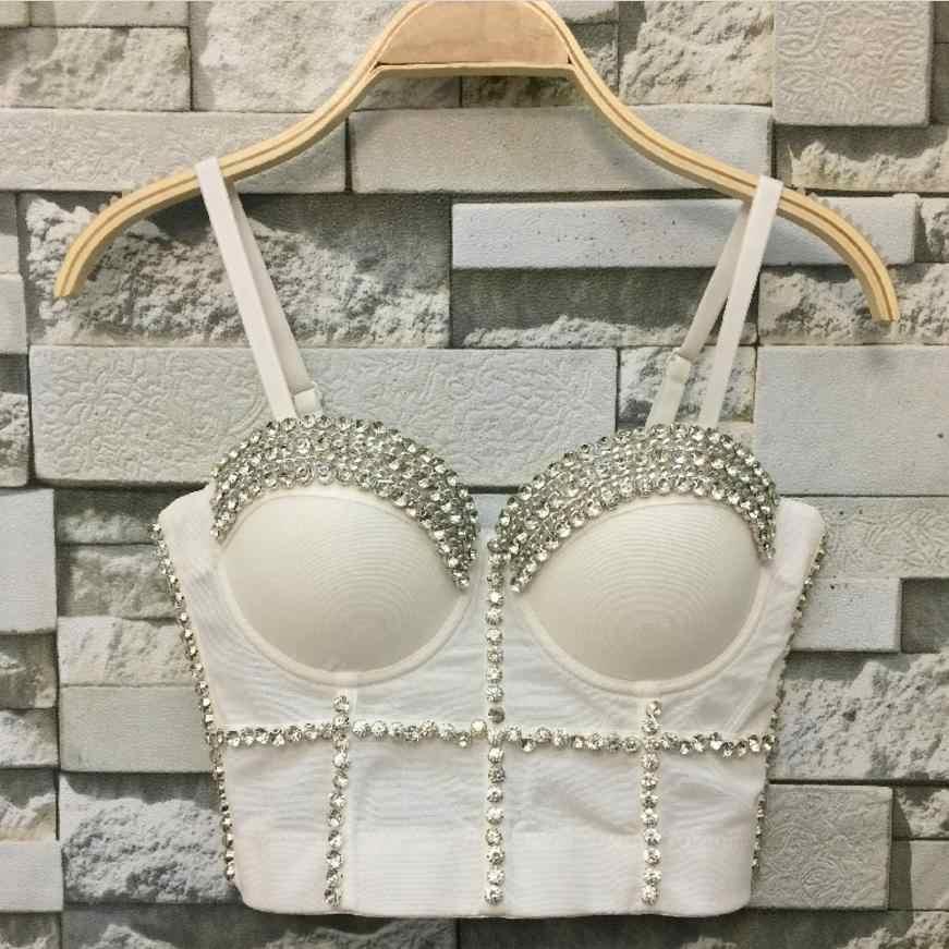 76483a9c743 ... Plus Size Gorgeous beading Jewel Pearls Diamond Mesh Breath Push Up  2018 New Bralet Women s Bustier ...