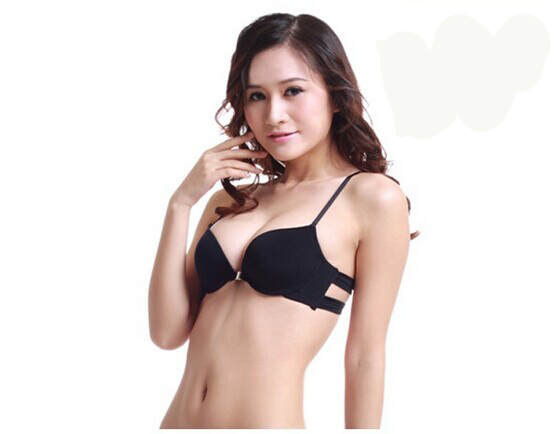 3863baffb4 Front button lace halter-neck no shoulder tape sexy leopard print young  girl underwear push