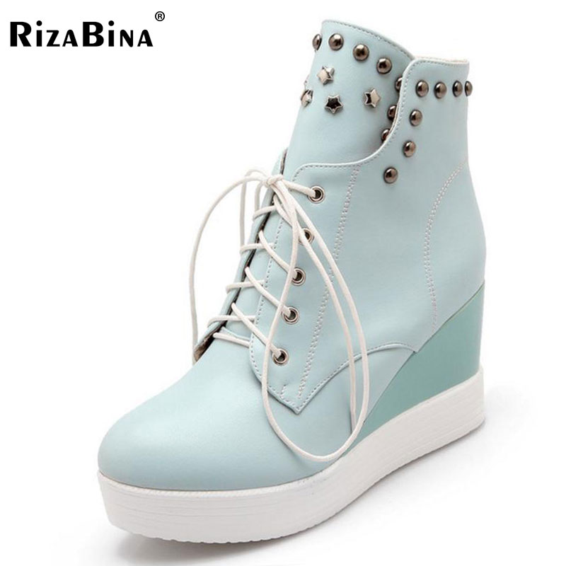 RizaBina Size 33-42 Ladies High Wedges Mid Calf Boots Women Thick Platform Rivets Lace Up Shoes Women Winter Warm Botas shiningthrough size 33 43 winter women boots thick high heels round toe platform shoes solid pu leather mid calf boots