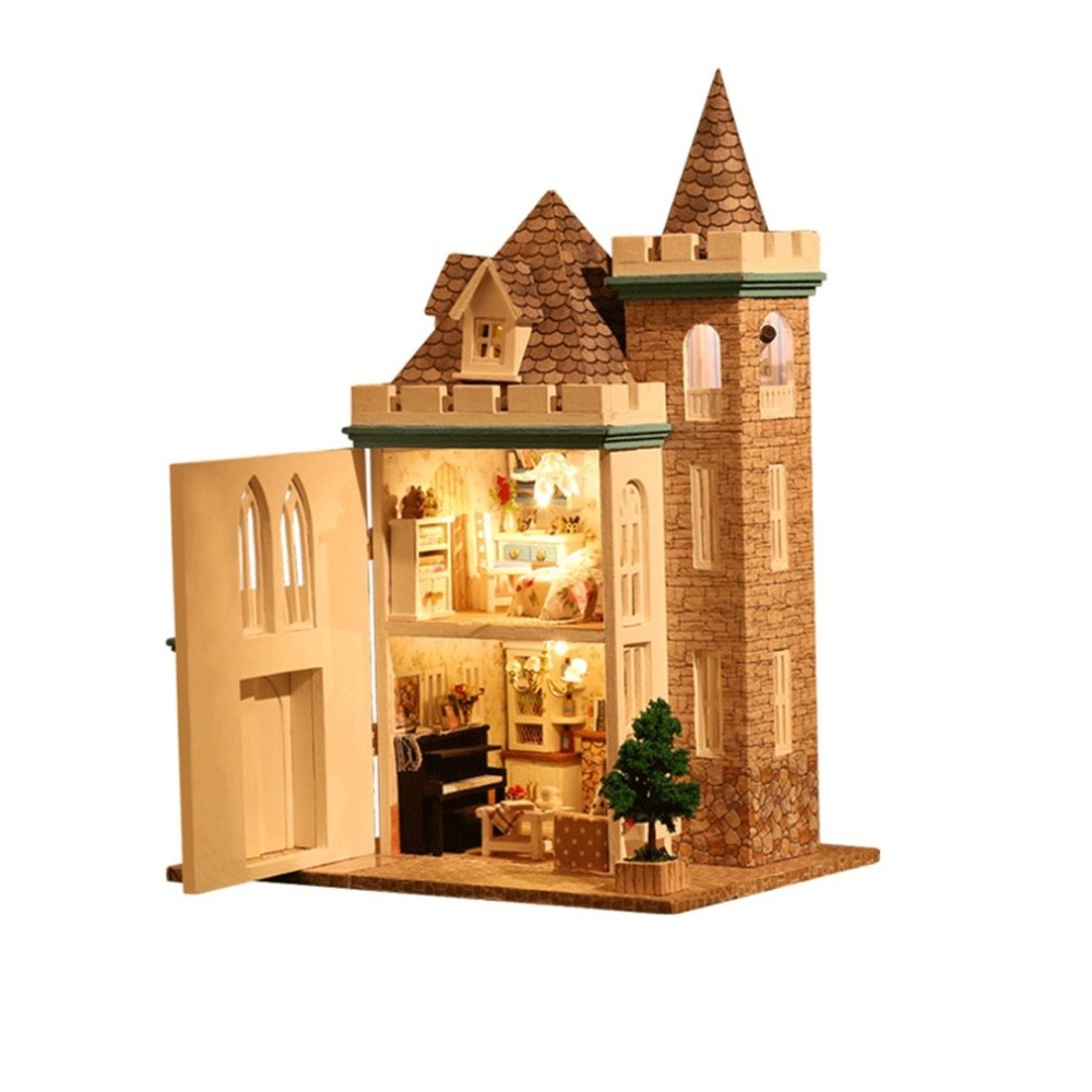 DIY 3D Wooden Doll House Moonlight Castle Dollhouse Miniature DollHouse Model Building Kits Furniture Toys Birthday Gift For kid a035 miniature doll house model building kits wooden furniture toys diy dollhouse gift for children new zealand queentown