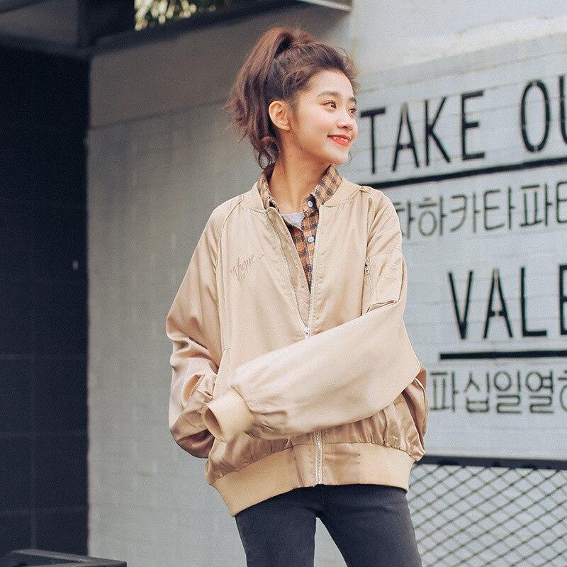 Тренч для Для женщин 2018 новая весенняя Корейская версия письма вышитые свободные пилот Бейсбол женщина