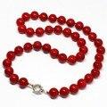Moda rojo coral artificial 8,10, 12,14mm ronda cuentas de collar de la venta caliente belleza fina joyería de las mujeres de regalo best elegante 18 pulgadas B1467