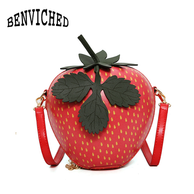 BENVICHED Red Circular Strawberr Bag Fashion Female Messenger Bags Fruits Handbags Shoulder Bags Women Crossbody Bags L136