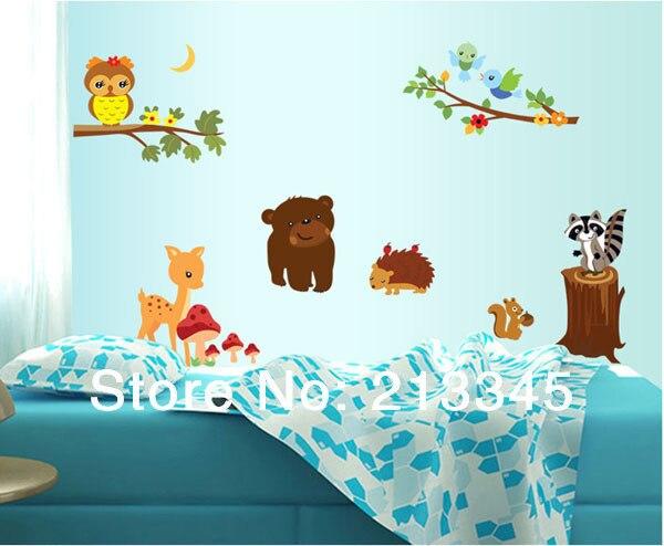[Fundecor] removable cartoon zoo wall stickers Owl Bear hedgehog deer bird nursery children's room decor mural animals