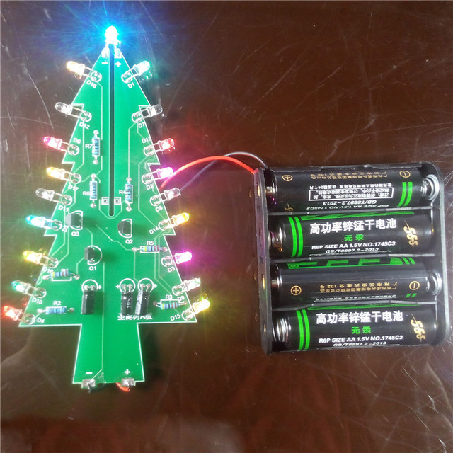 Diy Colorful Christmas Tree Production Suite LED Lights Flash Welding Parts  And Electronic Training Interest Tree