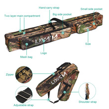Two Layer Camouflage Long Fishing Tackle Rod Lures Bag Fishing Hand Shoulder Bags Multi-usage 120/150cm Large Capacity