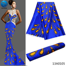 LIULANZHI Blue african printed silk satin fabric hot selling high quality 5yards/piece for party dress 13A01
