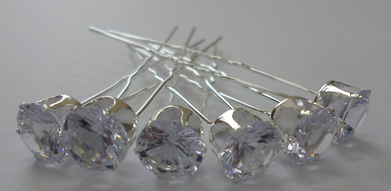 Best Sale 6pcs Wedding Bridal Hair Stick Pins Hairpins/Single Clear Rhinestone