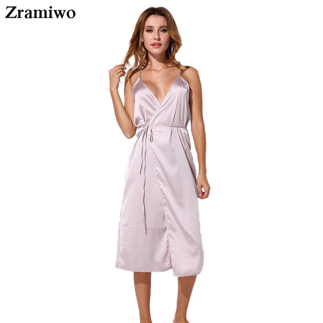 4134c0ee9534 Long Satin Nightgown Comfy Deep V Nightie Sexy A-Line Wrap Slip Split Party  Dresses Vestidos Holiday Lingerie