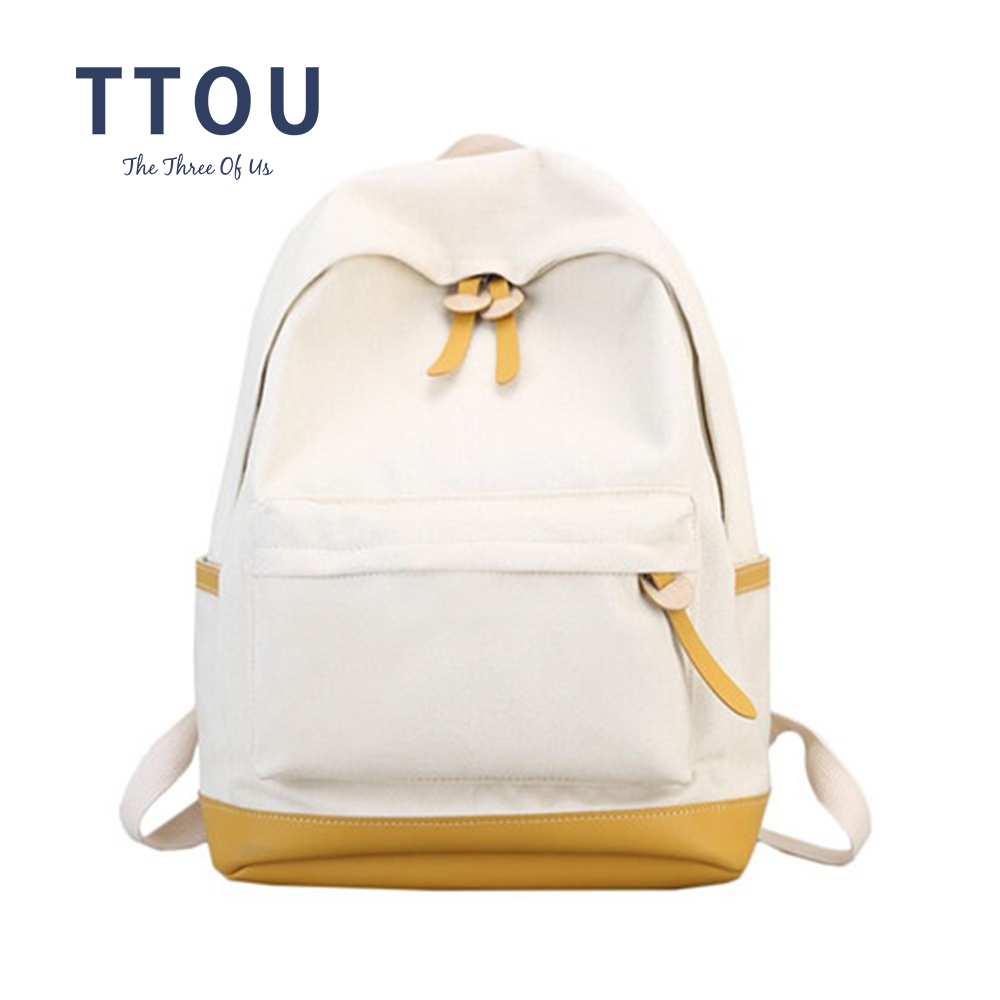 TTOU Women Canvas Backpack Fashion Patchwork Backpack School Backpacks For Teenagers Girls Large Travel Bag