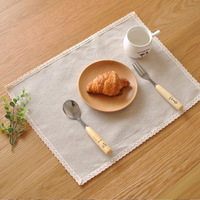 4pcs Set High Quality Cloth Table Nakin Lace Zakka Style Coffee Dinner Table Placemats Pads For