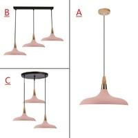 Pink Pendant Light For Kitchen Island Office Modern Ceiling Lamp Wood Pendant Lamps Bar Large Lighting Fixtures Bedroom Lights