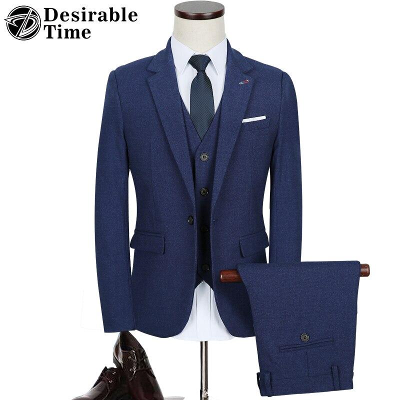 Desirable Time Brand Men Slim Fit Brown Tuxedo Suits for Wedding Multi-color Three Piece Burgundy Groom Suit Men DT136