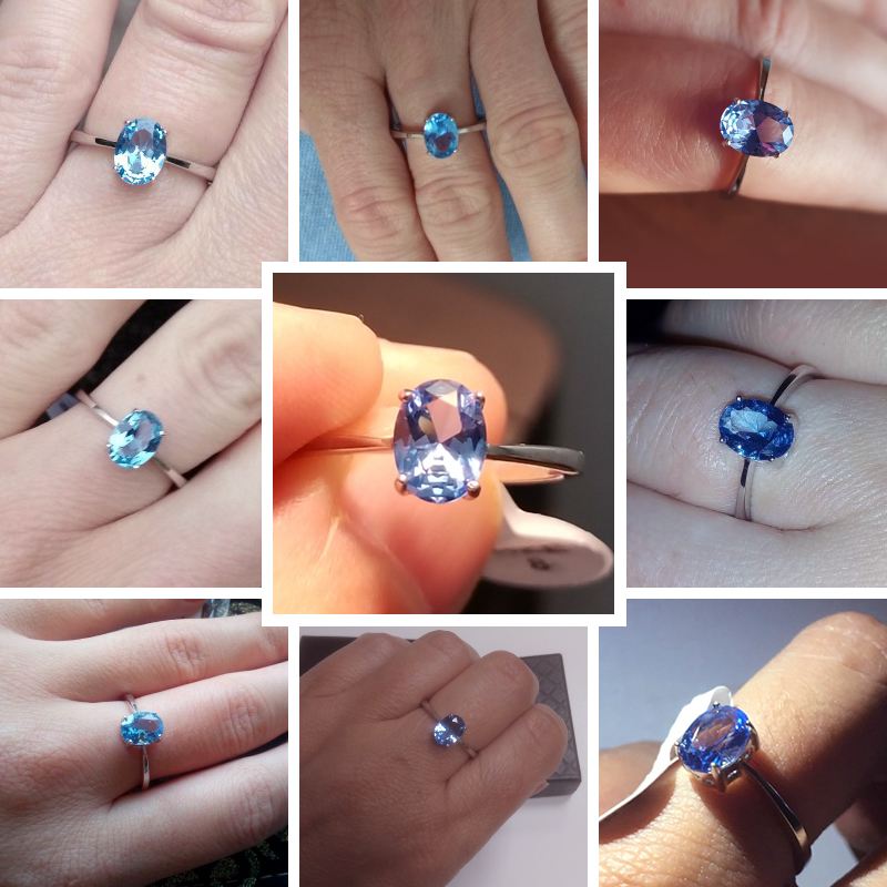 CZCITY Natural Solitaire Sky Blue Oval Topaz Stone Sterling Silver Ring For Women Fashion S925 Fine CZCITY Natural Solitaire Sky Blue Oval Topaz Stone Sterling Silver Ring For Women Fashion S925 Fine Jewelry Finger Band Rings