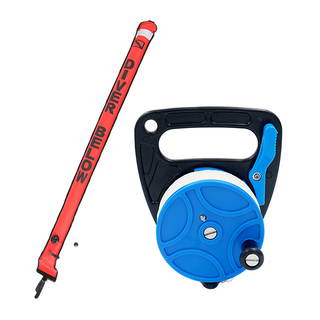 Dive Reel 83m with Handle Wheel + 180cm Scuba Divers SMB Surface Marker Buoy Diving Drift Diving Swimming Accessories