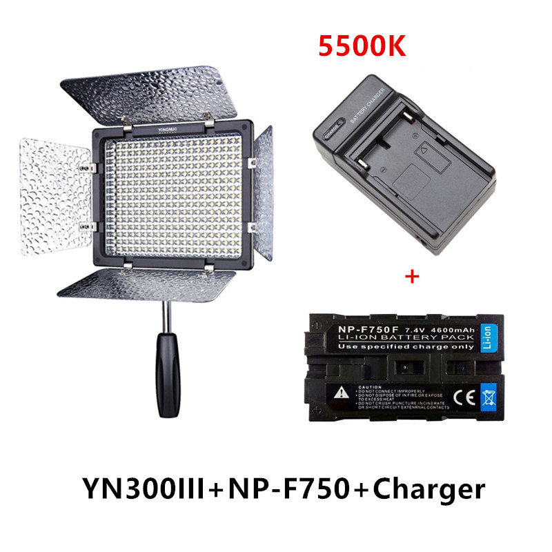 Yongnuo YN300 III YN-300 III 5500K CRI95 Camera Photo LED Video Light with 4400mAh NP-F750 Battery with Charger set