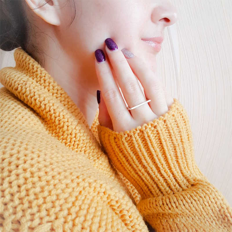 EManco บาง kpop 925 เงินสเตอร์ลิงแหวนผู้หญิง minimalist D statement dainty midi baguette แหวนเครื่องประดับ