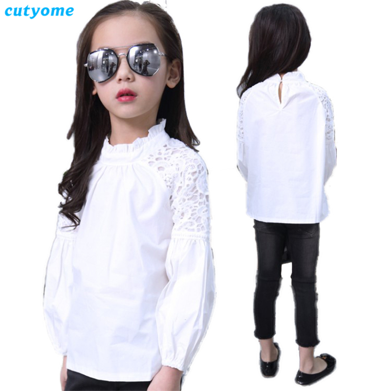 6pcs lot Long Sleeve Teenagers Blouses White Puff Sleve Floral Lace School Shirts for Baby Girl