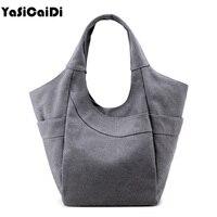 YASICAIDI Fashion Bucket Canvas Women Casual Tote Bags Handbags Women Famous Brand Large Capacity Women Shoulder