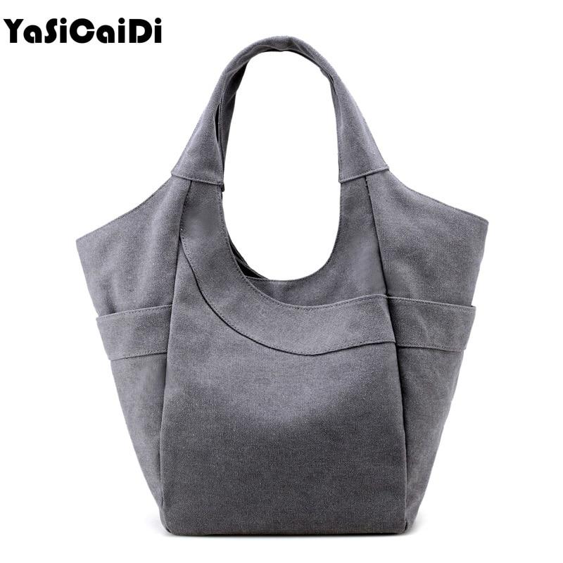 YASICAIDI Fashion Canvas Women Handbags Casual Bucket Tote Bags Women Famous Brand Large Capacity Canvas Women Shoulder Bag sac