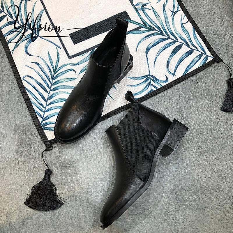 48347f305d5 Negro Redonda Mujeres 2019 Cuero Grueso Botas Casual Arranque Nuevo Mujer  Zapatos Invierno Punta De Pic As Otoño Talón ...