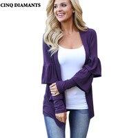CINQ DIAMANTS Herbst Frauen Öffnen Stich Jacke Mantel Schmetterling Langarm Lila Grundlegende Outwear Mantel Femme Manteau Weibliche Top