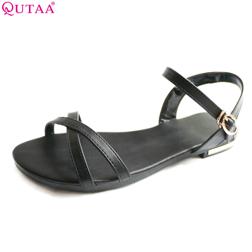 QUTAA 2017 Women Sandals Summer PU Leather Square Low Heel Shoes Ankle Strap White Ladies Beach Wedding Shoes size 34-39 стоимость