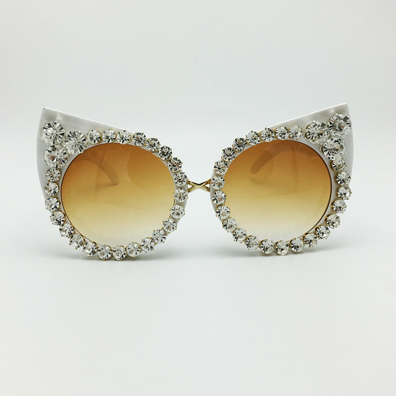 Sunglasses Vintage Shades Rhinestone-Decoration Eyewear Cat Eyes Women Luxury Jewelry