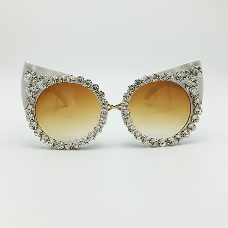 New 2016 Women Luxury Brand Sunglasses Jewelry Rhinestone Decoration Cat Eyes Sunglasses Vintage Shades Eyewear gafas de sol