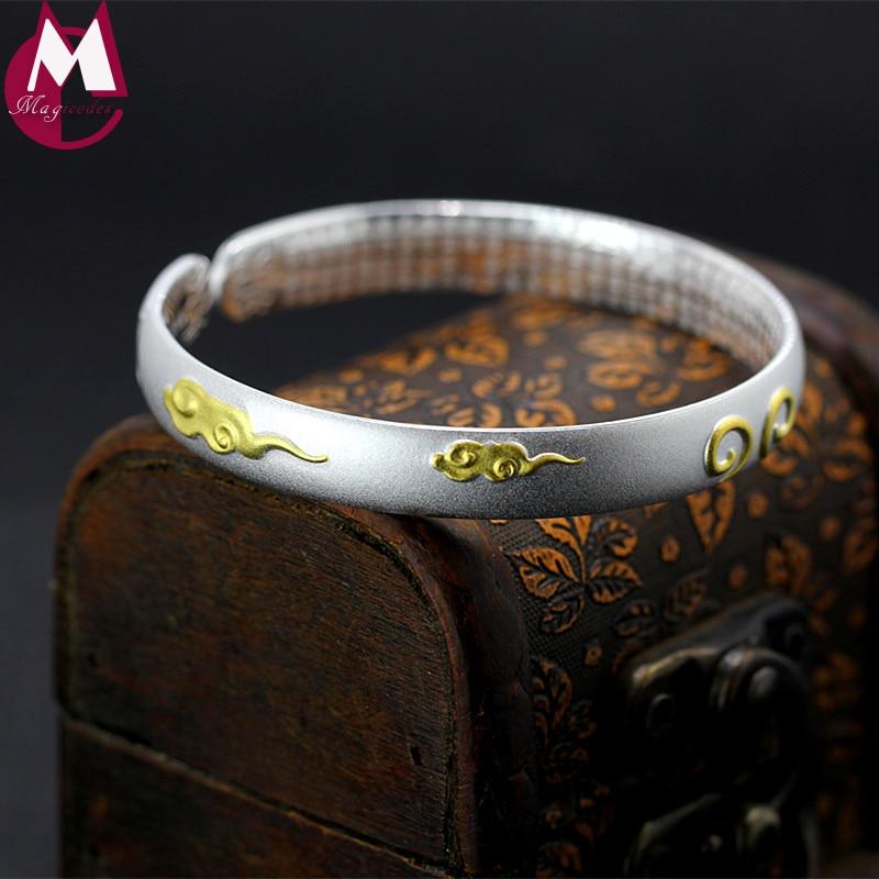Original Design Lover Bangle Ethnic Fine Buddhist Heart Sutra Gold Color Cloud 999 Sterling Silver Bracelets