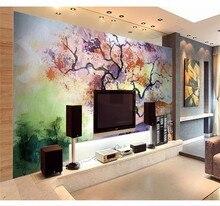 Custom 3D Wallpaper Mural Personality Watercolor Bedside Sofa Living Room TV Family Art Silk Waterproof