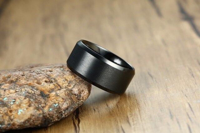 Фото мужские вечерние кольца 10 мм черные из нержавеющей стали модные
