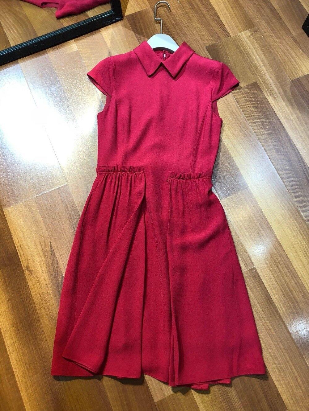 Robe Manches Drapé Princesse Dames 2019 Qualité Mode Revers Rouge 0312 Supérieure De Sans Vin H7xfqAR