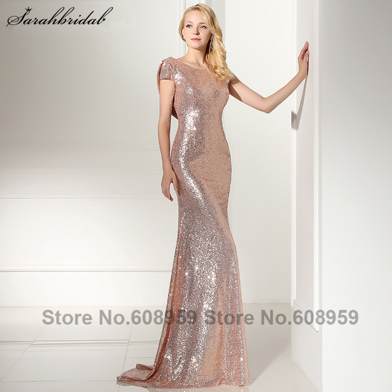 Sexy Cowl Backs Rose Gold Sequined Evening Dresses New Real Pictures Backless  Mermaid Party Gown Sleeves Vestido SLD347 26d58fa670bf