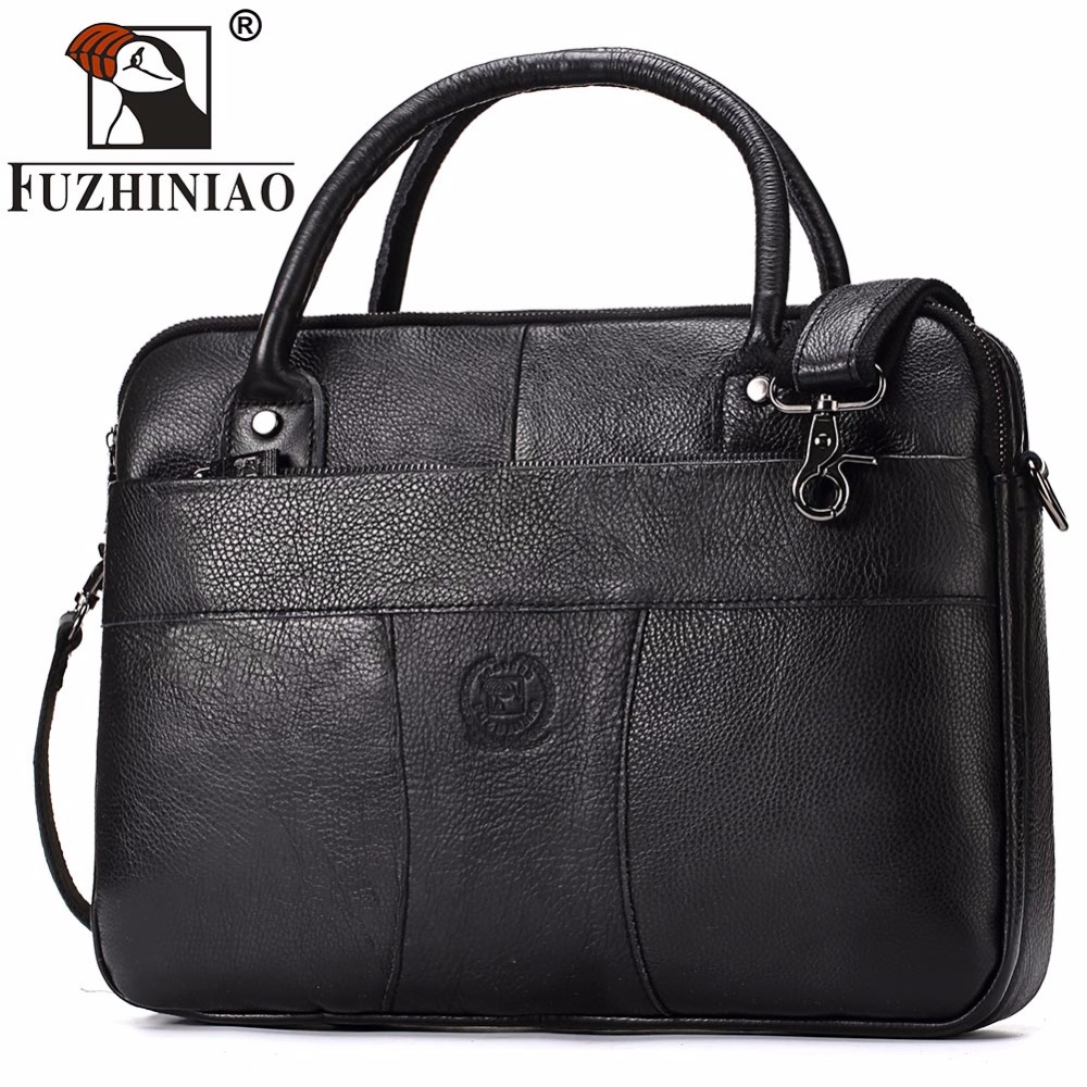 FUZHINIAO 2018 Business Fashion Genuine Leather Men Briefcase Cowhide Men's Messenger Bags 14 Laptop Luxury Lawyer Handbag new genuine leather coffee men briefcase 14 inch laptop business bag cowhide men s messenger bags luxury lawyer handbags lb9006