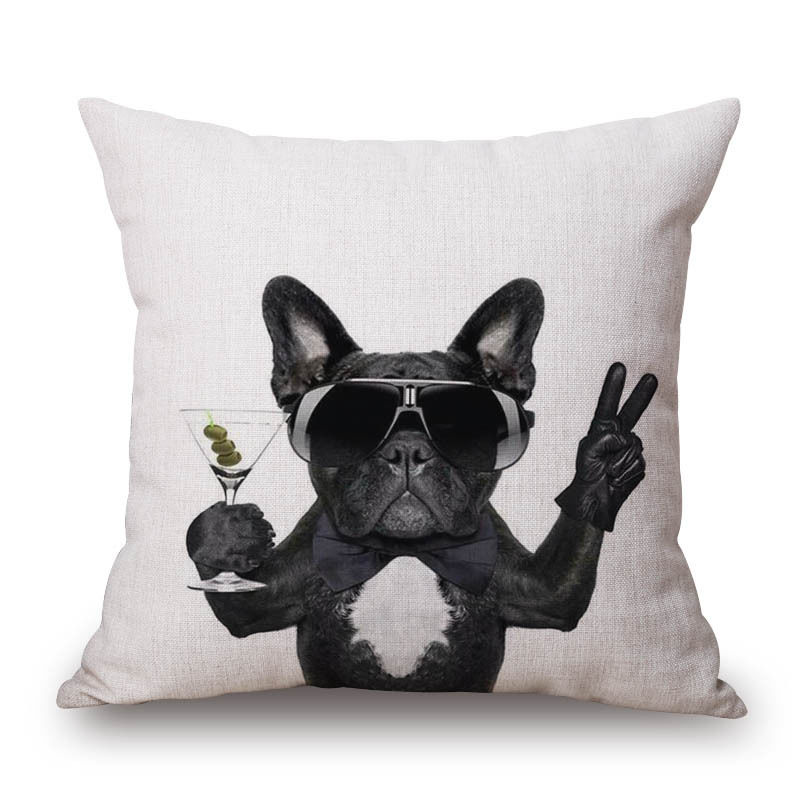 Digital Printed Linen Pillow Cover Decorative French Bull Themed Home Decoration Accessories Cute Dog Cushion Cover 45x45cm Table & Sofa Linens